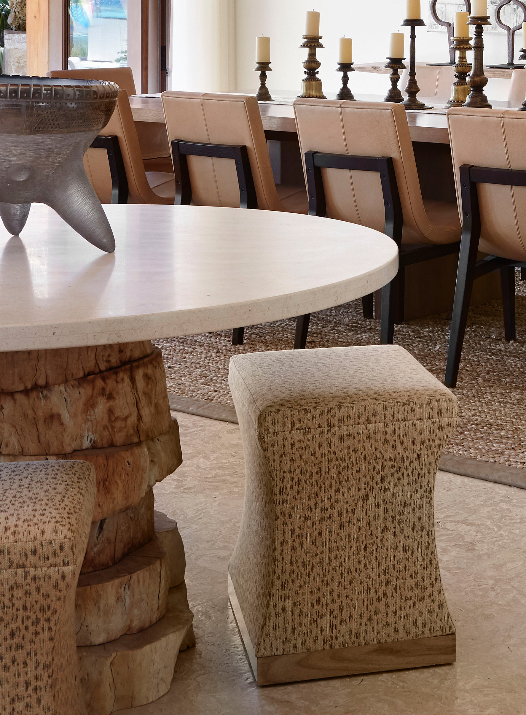 Custom Made Stool by Luxury Interior Designer in Chicago - Soucie Horner, Ltd.